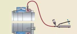 Usando la tuerca hidráulica para quitar el rodamiento
